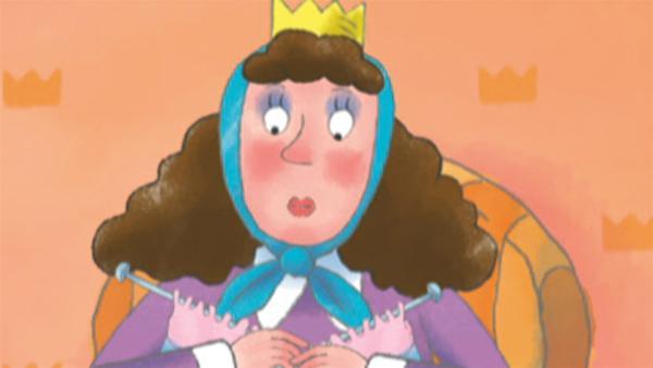 Die Königin strickt einen langen Schal.   Rechte: ZDF/Ed Foster