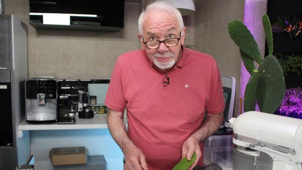 Die Senioren peppen ihre Suppe mit einem wahren Superfood auf, dem Kaktus! Johann entstachelt ihn. | Rechte: ZDF/Oliver Landgraf