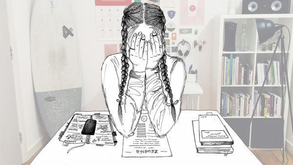 Im KUMMERKASTEN zeigen wir dir, wie du den Schulalltag entstressen und dabei deine Zensuren verbessern kannst. | Rechte: KiKA/Anne C. Brantin/Leslie Jjuarez