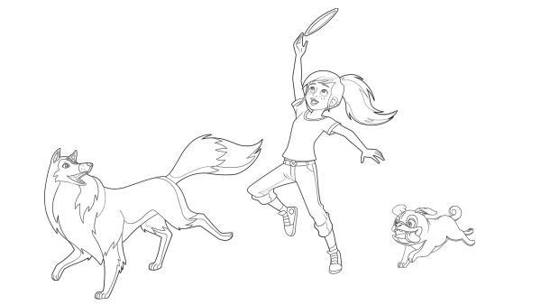 Ausmalbild Zoe spielt Frisbee mit Lassie und Biff | Rechte: Classic Media, DQ Entertainment, Superprod