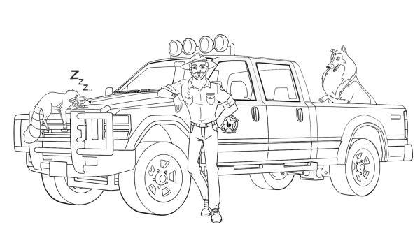 Ausmalbild Ranger Graham, sein Auto mit Lassie und schlafendem Waschbär Looper | Rechte: Classic Media, DQ Entertainment, Superprod