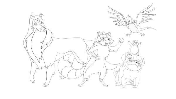 Ausmalbild mit Lassie, dem Mops Biff, dem Waschbären Looper, dem Hamster Houdini und der Elster Pica | Rechte: Classic Media, DQ Entertainment, Superprod