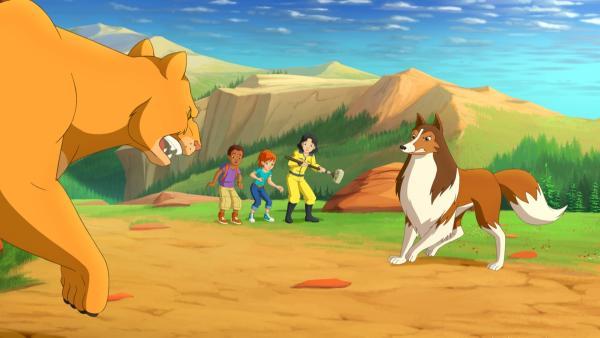 Lassie verteidigt Harvey, Zoe und Kim vor dem gefährlichen Berglöwen. | Rechte: ZDF/Classic Media/DC Entertainment/Superprod