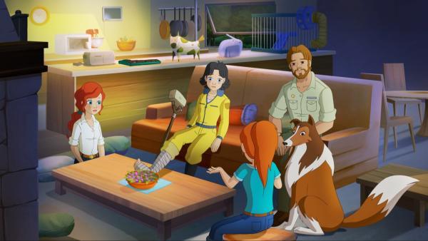 Nach all den aufregenden Abenteuern kann Zoe mit ihren Eltern endlich den Besuch von Tante Kim (2.v li.) genießen. | Rechte: ZDF/Classic Media/DC Entertainment/Superprod