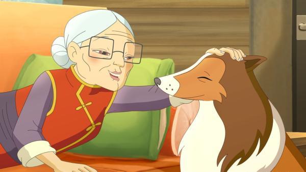 Dank Hündin Lassie hat Mrs. Lee noch rechtzeitig das Gegengift bekommen. | Rechte: ZDF/Classic Media/DC Entertainment/Superprod