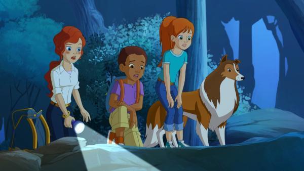 Zoe, ihre Mutter, Harvey und Hündin Lassie beobachten, wie das Wolfsrudel direkt auf die Fallen der bösartigen Rancher zulaufen.   Rechte: ZDF/Classic Media/DC Entertainment/Superprod