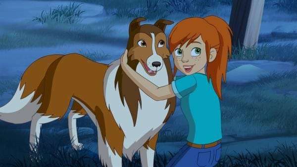 Zoe ist stolz: Dank ihrer mutigen Hündin Lassie sind die Wölfe nicht in die Fallen der Rancher getappt. | Rechte: ZDF/Classic Media/DC Entertainment/Superprod