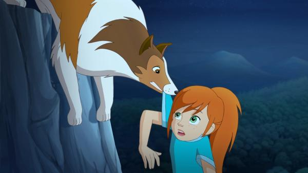 Lassie rettet Zoe in letzter Sekunde vor dem Absturz. | Rechte: ZDF/Classic Media/DC Entertainment/Superprod