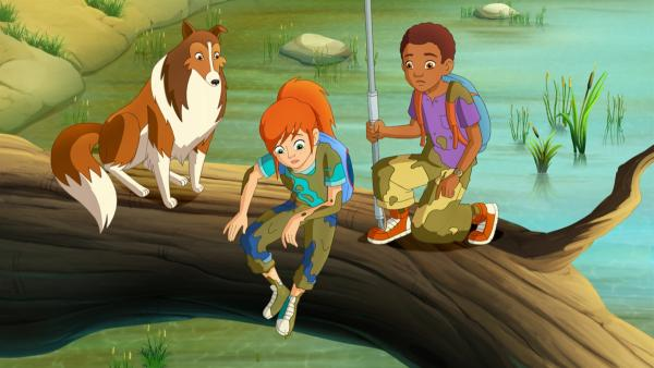 Auf der Suche nach dem ausgerissenen Hirschkalb sind Zoe und Harvey im Sumpf gelandet. | Rechte: ZDF/Classic Media/DC Entertainment/Superprod