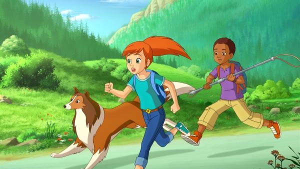 Zoe, Harvey und Lassie versuchen das ausgerissene Hirschkalb wieder einzufangen. | Rechte: ZDF/Classic Media/DC Entertainment/Superprod