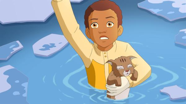 Bei der Suche nach dem Babyluchs ist Harvey auf einem Abhang ausgerutscht und in einen Tümpel gefallen. | Rechte: ZDF/Classic Media/DC Entertainment/Superprod