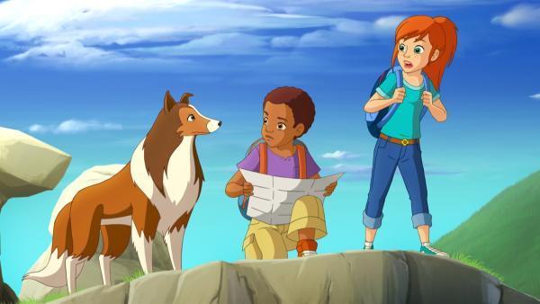 Harvey (li.) ist sich sicher, dass sie mithilfe von Lassie das Rennen noch gewinnen können.  Zoe (re.) ist skeptisch.    Rechte: ZDF/Classic Media/DC Entertainment/Superprod