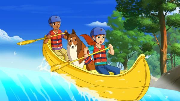 Zoe (vorne) und Harvey (hinten) müssen mit ansehen, wie Drew und Emma mit ihrem Kanu in eine lebensgefährliche Situation geraten.    Rechte: ZDF/Classic Media/DC Entertainment/Superprod