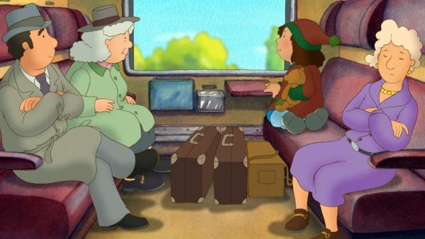 Laura (2.v.re.) fährt mit ihrer Oma im Zug aufs Land. | Rechte: ZDF/Baumhaus Medien AG