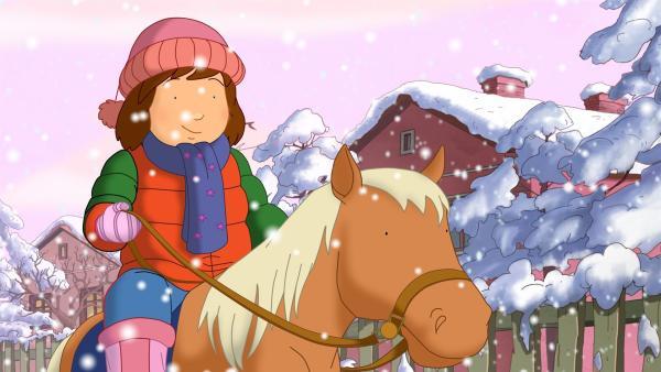 Laura träumt, dass sie im Winter mit einem Pony zum Kindergarten reiten kann.   Rechte: ZDF/Mondo tv/ZDF-E