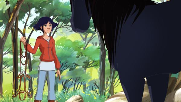 Mistral ist wild und ängstlich, aber Lenas Fähigkeiten als Pferdeflüsterin beruhigen das Tier. | Rechte: hr/Tele Images