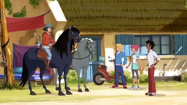Lenas Freunde sind sauer, dass sie Samanthas Pferd Bonbon hilft, weil vom Gewinn des Preisgeldes die Zukunft der Ranch abhängt. | Rechte: hr/Tele Images