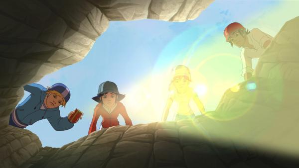 Auf der Suche nach Miro stoßen die Kids auf einen frischen Erdspalt, der in ein unterirdisches Labyrinth führt.   Rechte: hr/Tele Images