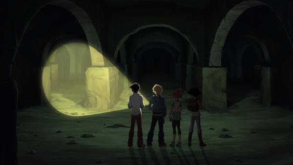 Der Erdspalt führt in ein unterirdisches Labyrinth. | Rechte: hr/Tele Images
