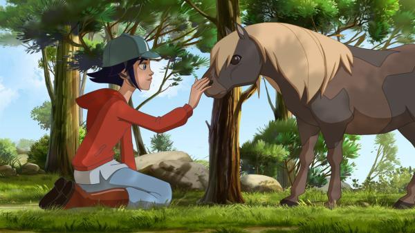 Die Kids treffen auf ein blindes Pony, das durch die Gegend streunt.   Rechte: hr/Tele Images