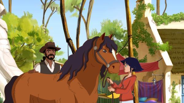Anna hat vom alten Papé das Pferd Piro in Pflege genommen. | Rechte: hr/Tele Images