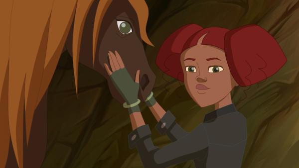 Weil Vina eine Woche verreist, bitte sie Lena, ihr Pferd Lily auf der Ranch so lange zu pflegen.   Rechte: hr/Tele Images