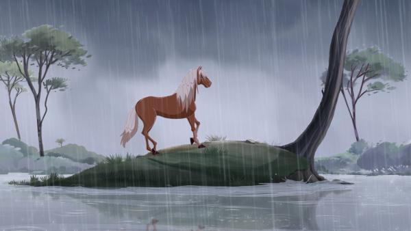 Karamell ist von den Überschwemmungen eingeschlossen. | Rechte: hr/Tele Images