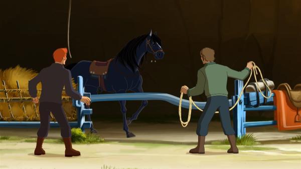 Zwei Pferdediebe stehlen Mistral und Bonbon. | Rechte: hr/Tele Images