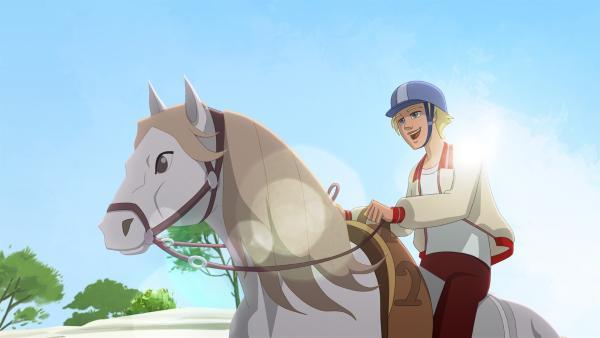 Tatsächlich gelingt es Clément, mit Angelos Pferd Sila ein paar Runden zu drehen. | Rechte: hr/Télé Images