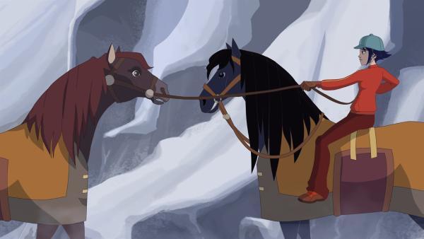 Lena hat den Auftrag, ein Pferd über einen verschneiten Pass zu bringen.  | Rechte: hr/Télé Images