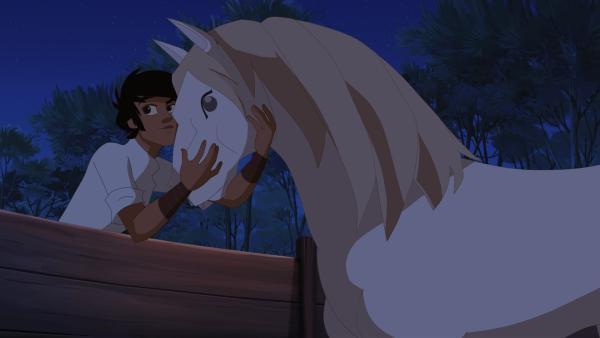 Angelo trifft seinen Hengst Sila wieder.   Rechte: hr/Télé Images