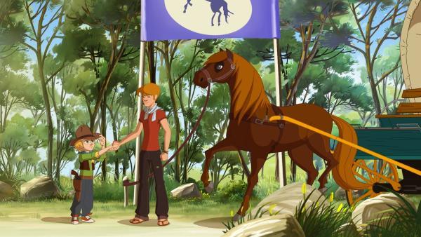 Kevin (li.) trifft Jim auf der Ranch. | Rechte: hr/Télé Images