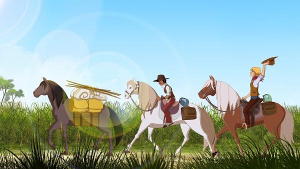 Angelo (li.) und Nico beim Auftrieb der Pferde.   Rechte: hr/Télé Images
