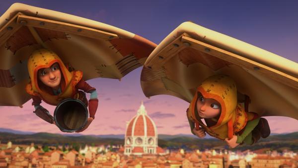 Leo und Lisa fliegen in den Gleitern über der Stadt Florenz. | Rechte: hr/2020 Grupo Alcuni