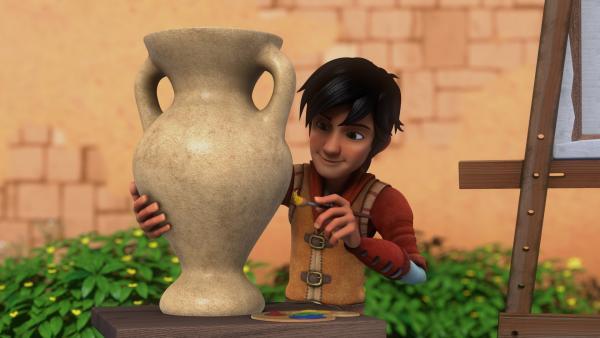 Leo soll eine Vase bemalen. | Rechte: hr/2020 Grupo Alcuni