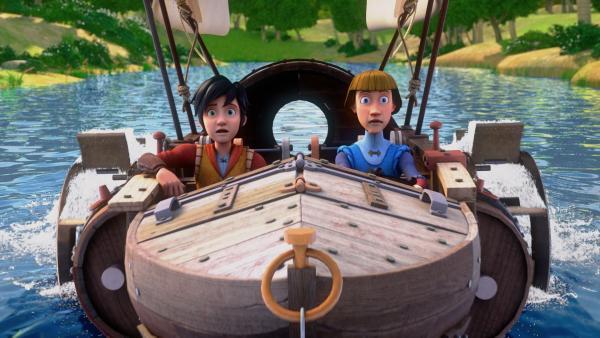 Ein Ausflug mit Leo und Lorenzo de Medici (r.) im Motorboot   Rechte: hr/2020 Grupo Alcuni