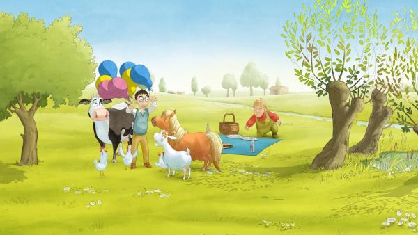 Lieselotte freut sich sehr über die Luftballons vom Postboten. | Rechte: ZDF/WunderWerk