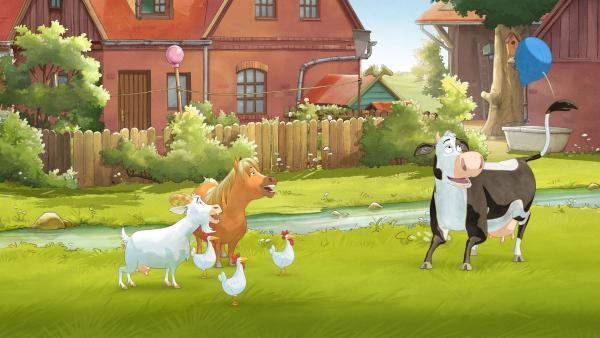 Die anderen möchten gerne mit Lieselotte zusammen spielen. | Rechte: ZDF/WunderWerk
