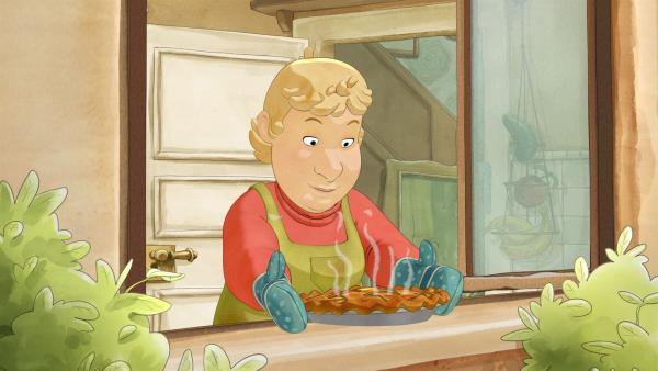 Die Bäuerin hat den Apfelkuchen fürs Apfelfest gebacken. | Rechte: ZDF/WunderWerk