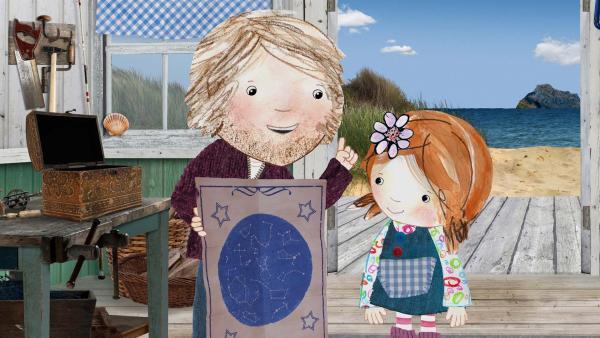Papa zeigt Lily eine Sternenkarte.  | Rechte: KiKA/Sixteen South