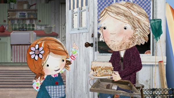 Lily hat für ihren Vater ein leckeres Sandwich mit Thunfisch und Schokostreuseln zubereitet. | Rechte: KiKA/Sixteen South
