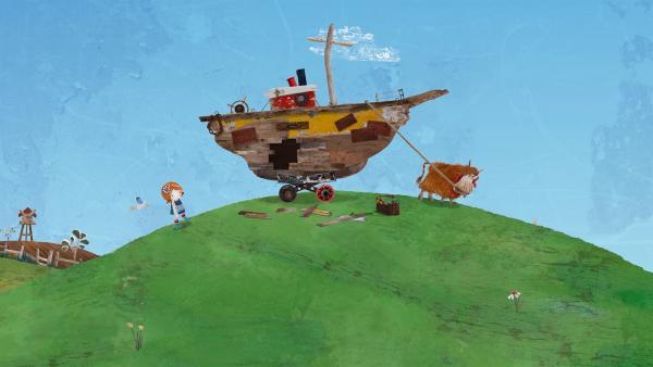 Barne will das Boot mit Hilfe von Lilys gefundenem Schatz reparieren.   Rechte: KiKA/Sixteen South