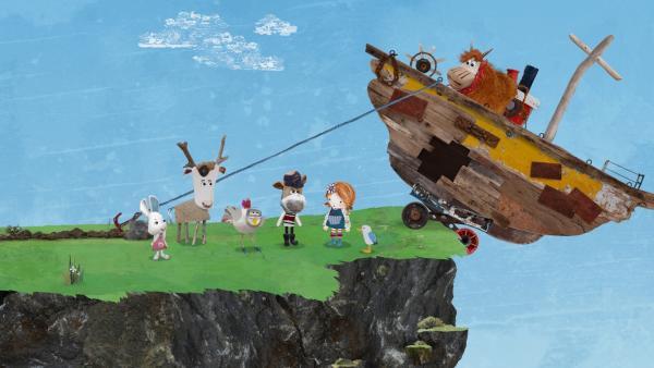 Nur ein dünnes Seil hält das Boot. Wie können die Freunde verhindern, dass Barne mitsamt Boot die Klippen hinab stürzt?   Rechte: KiKA/Sixteen South
