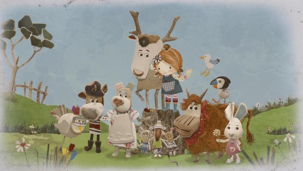 Am Ende entsteht ein wunderschönes Bild mit Lord von Hirsch und seinen liebsten Freunden.    Rechte: KiKA/Sixteen South