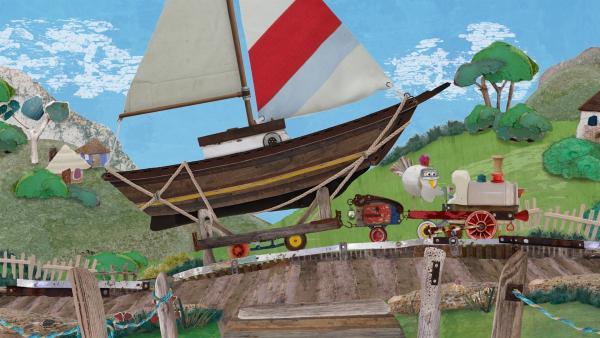 Jette liefert ein nagelneues, hochmodernes Schiff, das Salty als Ersatz für seine uralte Delilah bestellt hat.   Rechte: KiKA/Sixteen South
