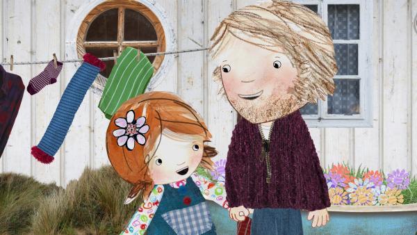 Lily und ihr Papa hängen Wäsche auf die Leine. | Rechte: KiKA/Sixteen South