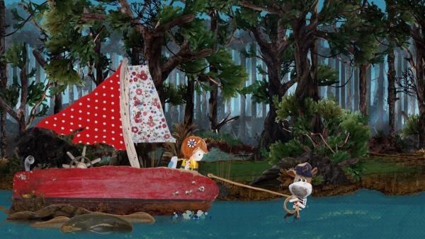 Salty erinnert sich an Opa Grummelhund. Der hatte sein Boot in einer ähnlichen Situation gezogen und so macht es auch Salty.   Rechte: KiKA/Sixteen South