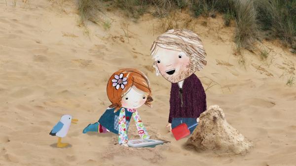 Mit ihrem Vater packt Lily viele schöne Dinge eine Zeitkapsel, die irgendwann einmal irgendjemand ausgraben wird. | Rechte: KiKA/Sixteen South