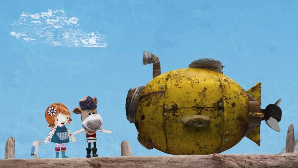 Salty lädt die begeisterte Lily und Pelle auf eine Unterwasserfahrt in der Nauti, seinem treuen alten U-Boot, ein. | Rechte: KiKA/Sixteen South