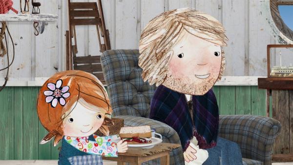 Lilys Papa ist erkältet und Lily versorgt ihn mit einem Brot mit Marmelade und Sardinen. | Rechte: KiKA/Sixteen South